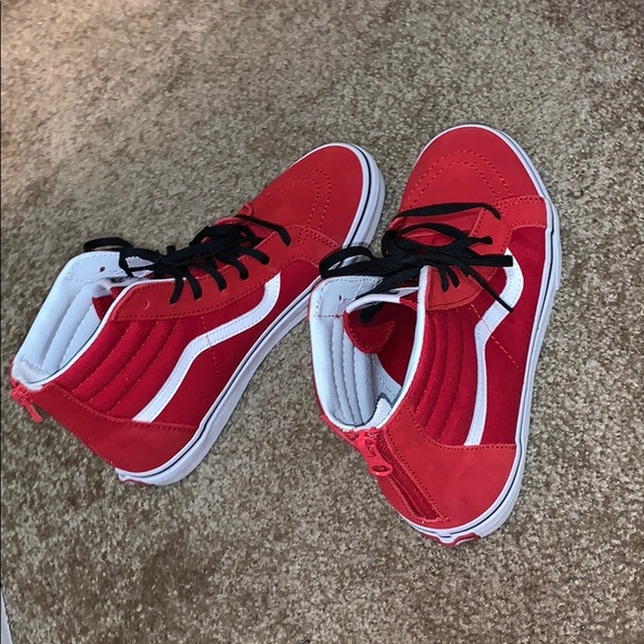 Vans Shoes   High Top Red White And